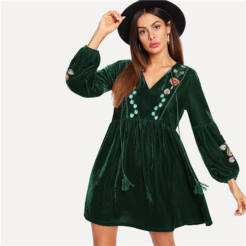 Green Casual Tassel Tie Neck Floral Embroidered Dress