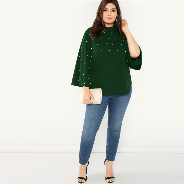 Stand Collar with Pearl Beaded Plus Size Blouse