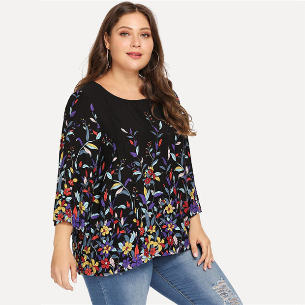Floral Plus Size Round Neck Casual Blouse