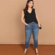 Black Scallop Edge Plus Size Top