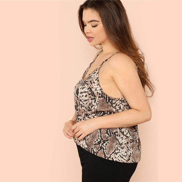 Snake Skin Plus SIze Camis Sleeveless Top