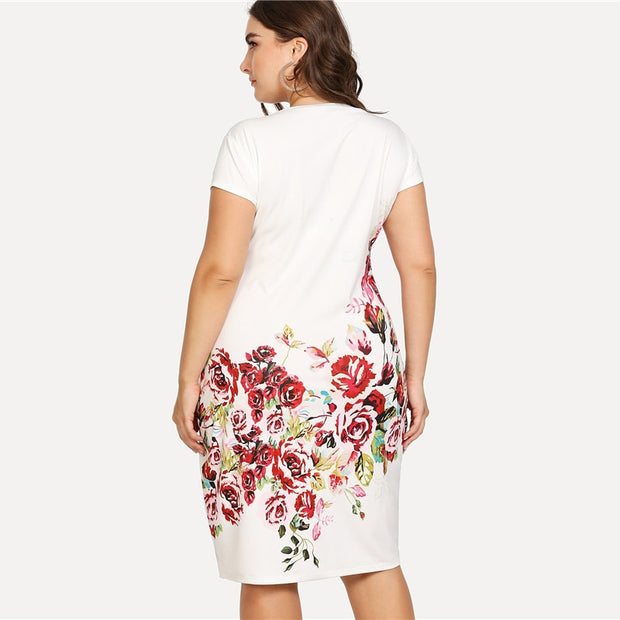 Floral Print Pencil Plus Size Dress