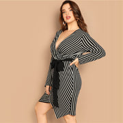 Black and White Plus Size Deep V Neck Dress
