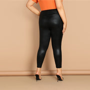 Black High Wide Waistband Plus Size Skinny PU Leggings