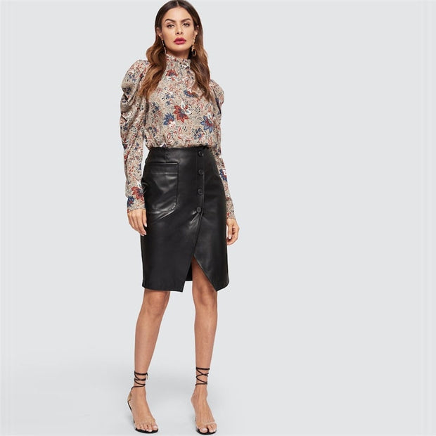Black Button Up PU Leather Midi Skirt