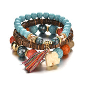 Wooden Beads Bracelets with Elephant Tassel Charm