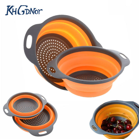 2pc/set Foldable Silicone Colander