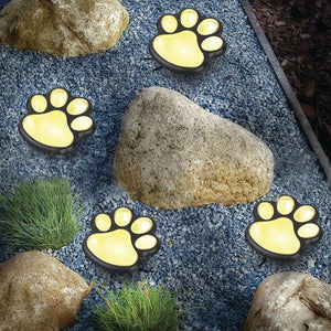 Solar-Powered Paw Print Lights