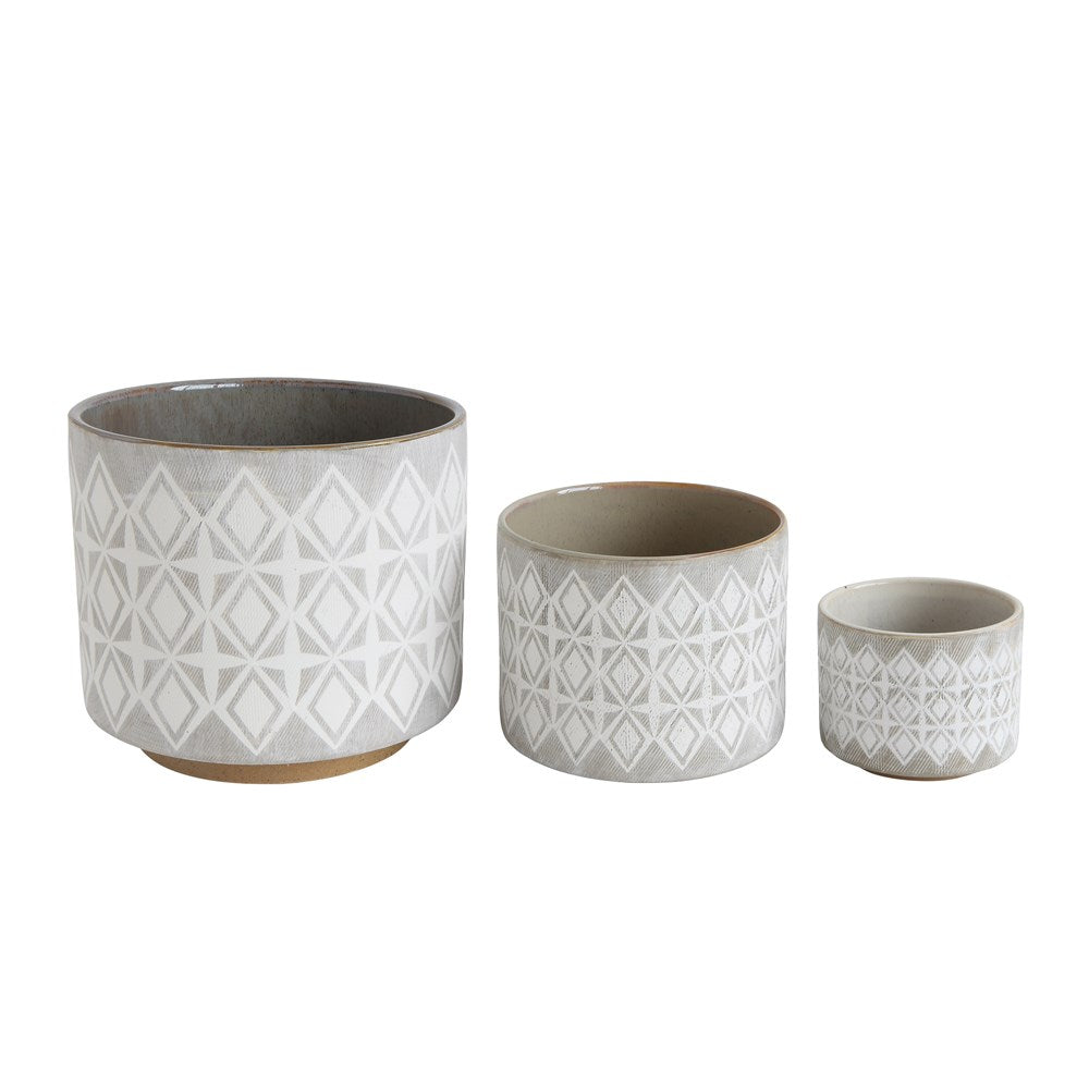 Grey Stoneware Planter - Set of 3