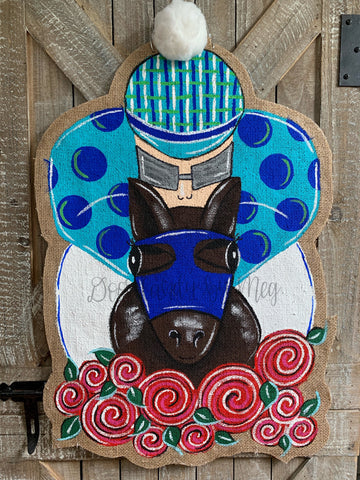 kentucky derby jockey silk and horse door hanger