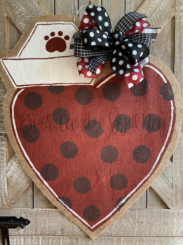 nurse hat door hanger maroon with polka dots