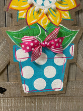 Load image into Gallery viewer, sunflower burlap door hanger, flower door hanger, sunflower hopsital door hanger, doorcandybymeg