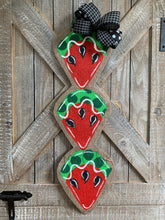 Load image into Gallery viewer, red and green watermelon slice door hanger with black bow