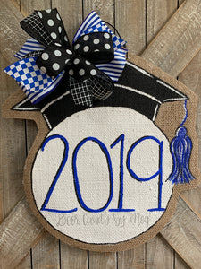 graduation cap door hanger with 2019 and royal blue bow