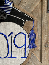 Load image into Gallery viewer, graduation cap door hanger with 2019 and royal blue bow