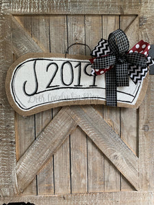 Graduation Door Hanger Diploma in Maroon that says 2019 with bow