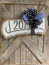 Load image into Gallery viewer, royal blue graduation diploma door hanger with blue and black bow