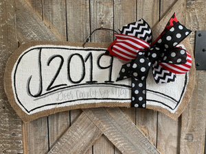 red and black graduation door hanger with 2019 and red and black bow