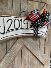 Load image into Gallery viewer, red and black graduation door hanger with 2019 and red and black bow