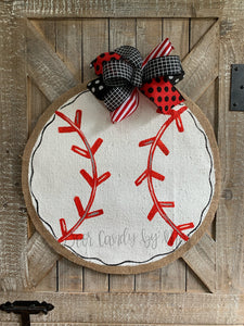 Burlap Baseball Door Hanger