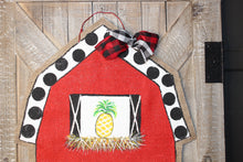 Load image into Gallery viewer, farm door hanger, farm animal door hanger, red barn door hanger, farmhouse door hanger, burlap door hanger, painted burlap door hanger, doorcandybymeg