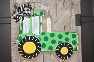 Green Tractor Burlap Door Hanger - Farm Door Hanger