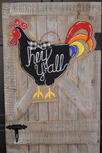 Load image into Gallery viewer, doorcandybymeg burlap door hangers - painted rooster door hanger, chicken burlap door hanger