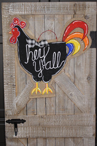 doorcandybymeg burlap door hangers - painted rooster door hanger, chicken burlap door hanger