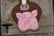 Load image into Gallery viewer, chicken pig cow door hanger, farm animal door hanger, burlap door hanger, barn door hanger, farmhouse door hanger, doorcandybymeg, burlap door hanger