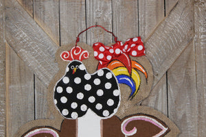 chicken pig cow door hanger, farm animal door hanger, burlap door hanger, barn door hanger, farmhouse door hanger, doorcandybymeg, burlap door hanger