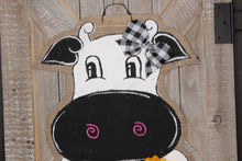 Load image into Gallery viewer, cow head door hanger, burlap door hanger, doorcandybymeg, farm door hanger, farmhouse door hanger, farm door hanger, cow hospital door hanger
