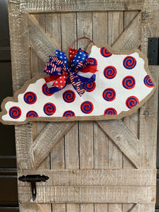 fourth of july burlap door hanger state of kentucky