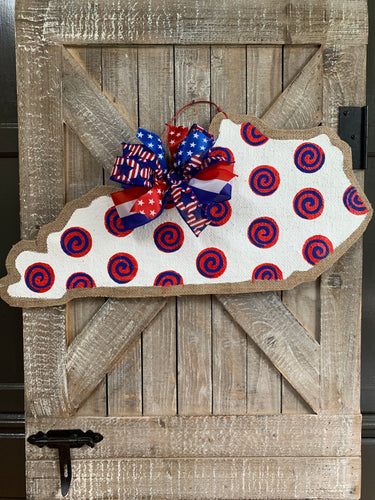 Patriotic Swirl Kentucky Door Hanger