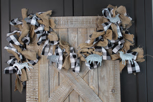 Farm Animal Buffalo Check Tied Garland
