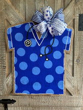 Load image into Gallery viewer, Medical Professional Door Hanger - Royal Blue Polka Dot Scrubs