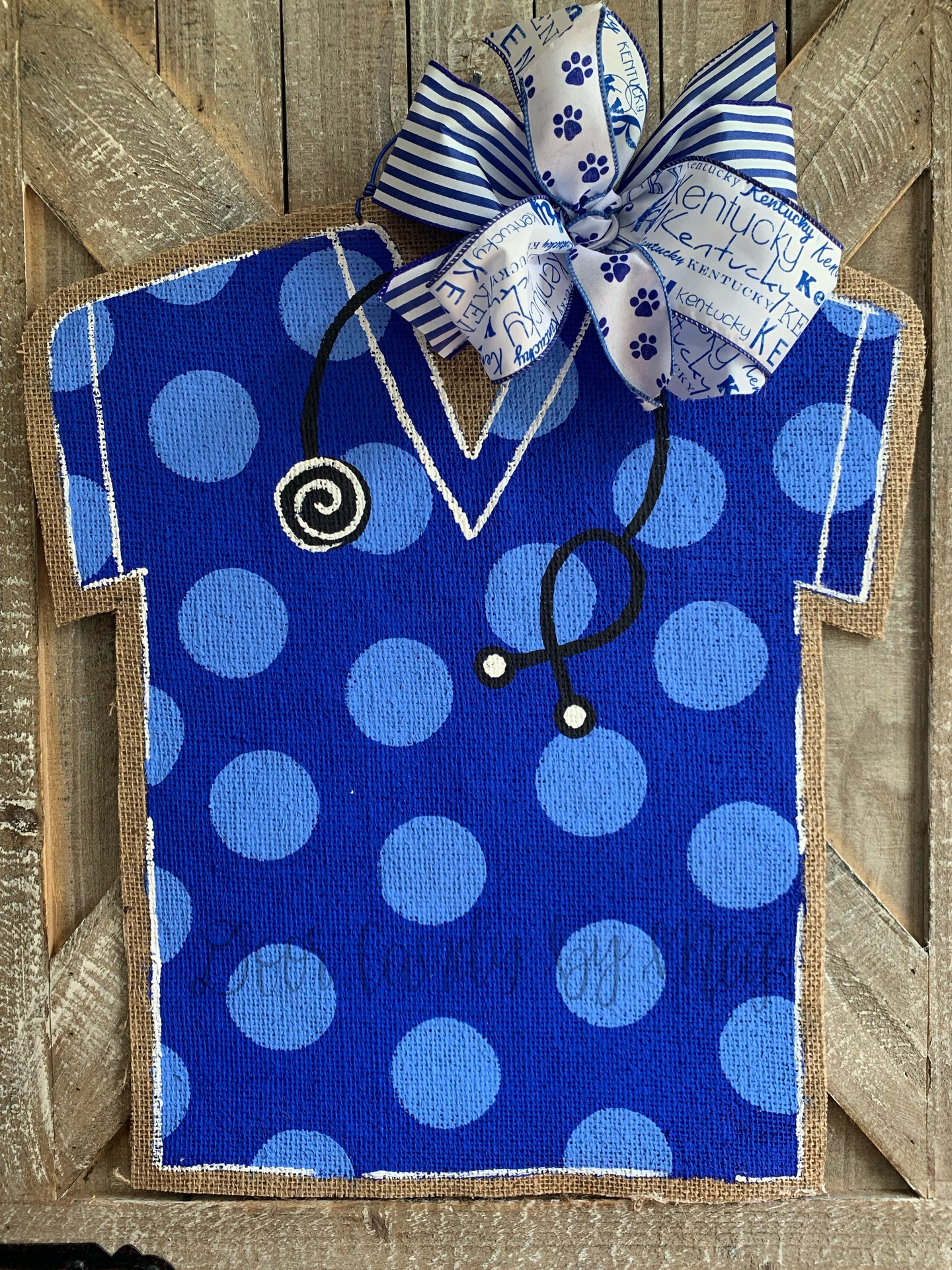Medical Professional Door Hanger - Royal Blue Polka Dot Scrubs