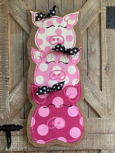Farm Animal Door Hanger - Three Little Pigs Burlap Door Hanger
