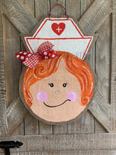 Load image into Gallery viewer, Whimsical Nurse Door Hanger - Red Hair