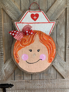 Whimsical Nurse Door Hanger - Red Hair
