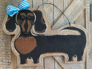 Dog Door Hanger - Doxie