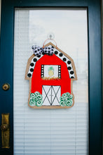 Load image into Gallery viewer, farm door hanger little red barn with polka dot roof and pineapple in loft