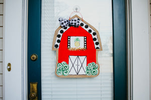 farm door hanger little red barn with polka dot roof and pineapple in loft