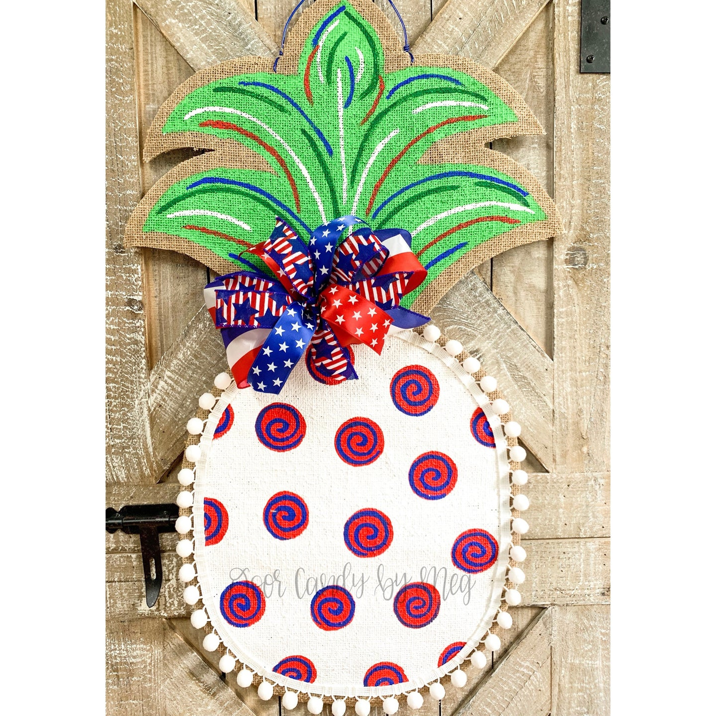 Burlap Pineapple Door Hanger - Large Patriotic Fourth of July Swirl