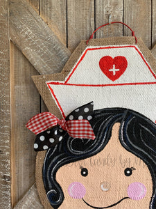 Whimsical Nurse Door Hanger - Black Hair