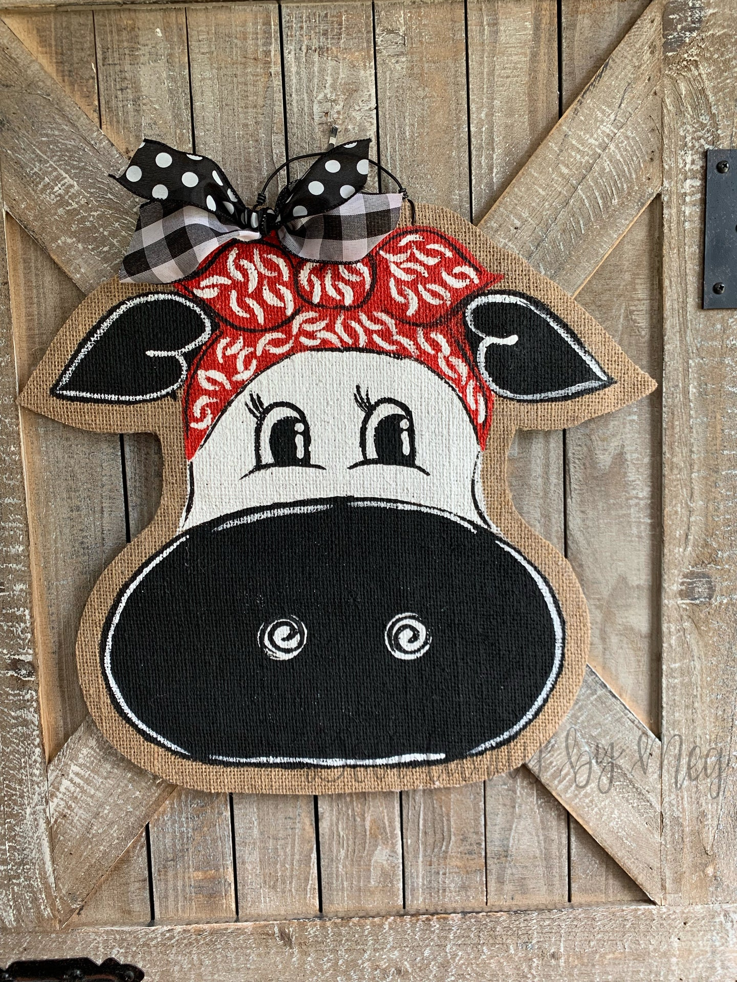 Cow Head Door Hanger - Whimsy Cow with Bandana