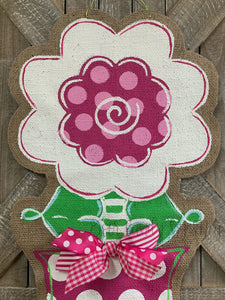 burlap flower door hanger, flower door hanger painted, front door flower hanger, flower door hanging, spring door hangers