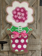 Load image into Gallery viewer, burlap flower door hanger, flower door hanger painted, front door flower hanger, flower door hanging, spring door hangers