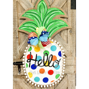 burlap pineapple door hanger large size with multi color polka dots