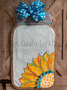 Sunflower in a Jar Door Hanger - Yellow Spring/Summer