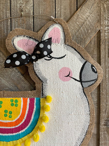 multi color llama door hanger with black bow